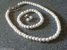 White Pearls Girls Necklace Bracelet Earrings Toddlers Very Sweet Looking 2-8 yr
