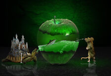 Fantasy Apple Mouse Fish Tortoise Castle Abstract Canvas Print Art Picture Green