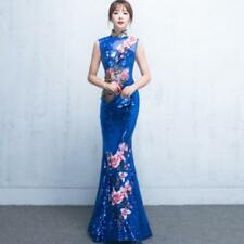 Women's Sexy Ball Gown Sequins Slim Fit Qipao Party Mermaid Full Long Dress A119