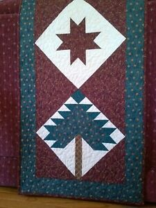 """""""Pine Star"""" Handmade Table Topper, Rich Reds/Greens-100% Cotton Machine Quilted"""