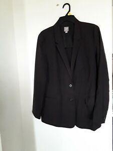 J.Jill Stretch Women's Blazer Jacket Wool Brown 2 Button Size 16