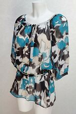 DEBENHAMS black blue white Sheer chiffon Tie waist short puff sleeve blouse 18