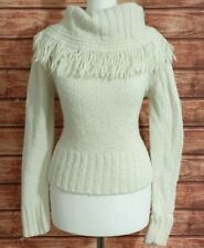 Ladies COWL Neck Jumper Size UK-12 White Tassel Edge Fitted Chunky Knit WINTER