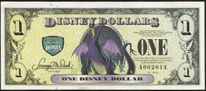 """2013  """"A""""  Disney Dollar   MALEFICENT   special number  #A002014 MINT"""