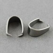 50pcs Silver Stainless Steel 4x9mm Spring Pinch Bails For Pendants 10086903