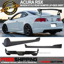 Fit 02-06 Acura RSX Mugen Style Rear Bumper Lip Spoiler + Pair Side Skirt PU