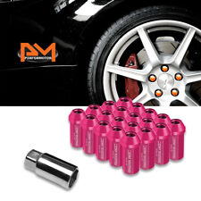 M12X1.5 Pink JDM Closed End Aluminum Hex Wheel Lug Nuts+Extension 25mmx50mm 20Pc