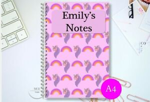 UNICORN A4/ A5 Personalised lined/ plain Notebook, drawing book Back to school.