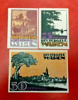 WAREN REUTERGELD NOTGELD 10, 25, 50 PFENNIG 1921 NOTGELDSCHEINE (13133)