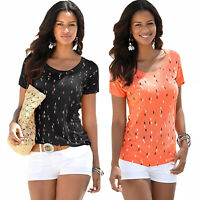 Women Round Neck Short Sleeves T Shirt Ladies Slim Loose Print T-Shirt Blouse