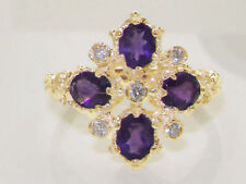 Cluster Natural Amethyst Yellow Gold Fine Rings