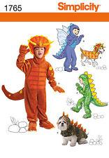 Nuevo | simplicidad para niños / Perro patrón de costura 1765 Dinosaurio & Dragon Disfraz