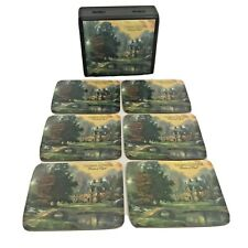 Thomas Kinkade Painter of Light Coaster Set & Box Set of 6 Mug Coasters 2007