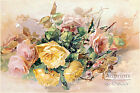 Pink & Yellow Roses by Franz Bischoff (Art Print of Vintage Art)