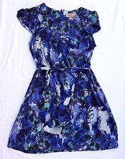 EX CON Kachel Size 14 Dress Blue Print Silk Ladylike Blouson Belted Chic Event