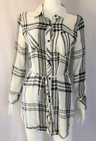 $295 RAILS White Black Rayon Flannel Long Sleeve Plaid Shirt Tunic Dress S
