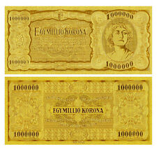 HUNGARY P-80 1000000 ONE MILLION KORONA 1923 GOLD 24K