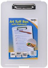 A4 Clear Strong Plastic Clipboard Tuff Box File Storage Case Heavy Duty Folder