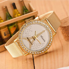 Popular Women's Crystal Tower Gold Stainless Steel Ladies Mesh Band Wrist Watch