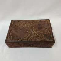 Wooden Wood Carved Box Grapes Leaf Leaves Brown