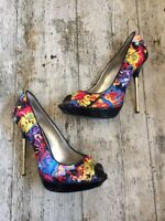 DUNE Jonah Graffiti Fabric Peep Toe Stiletto Heels Shoes~Sze 6~ Quirky Edgy