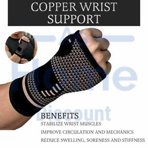 Copper Wrist Brace Hand Support Arthritis Sprain Fractures Carpal Tunnel Sports