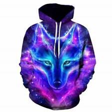 Plus Size Women Men Galaxy Wolf 3D Printed Hoodies Pullover Jumper Sweatshirt AU