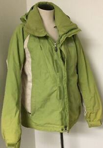 THE NORTH FACE GREEN INSULATED SKI SNOWBOARD SHELL JACKET W/WHITE TRIM & HOOD L