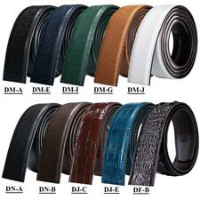 Genuine Leather Mens Replacement Belts Without Automatic Buckles Ratchet Sliding