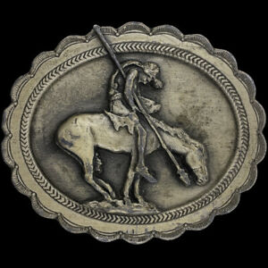 End Of Trail Native American Indian Warrior Chief Horse West 80 Vtg Belt Buckle