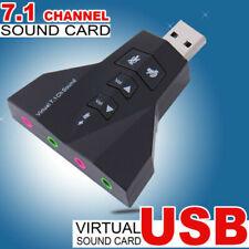 4 Port USB 2.0 to 3D Audio Sound Card External Adapter Virtual 7.1 MIC Headphone