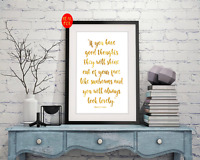 Roald Dahl Quote Good Thoughts Gold Foil Print Vintage Foil Rose Gold Wall Art