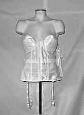 NWT Frederick's Hollywood White Satin Bridal Push Up Corset Bustier W Garters