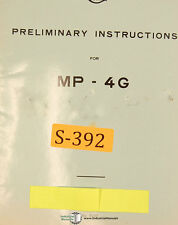 SIP MP-4G, Jig Boring Mill, Preliminary Instructions Manual