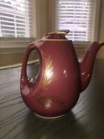 Vintage Hall Teapot 07.73 6 Cup Made In USA Burgundy Gold Paint