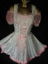 WHITE PINK BUNNY MAIDS DRESS AND WHITE SILKY SATIN RUFFLES TV DRESS SIZE small