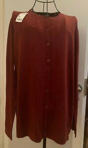 NWT NIB United Colors Of Benetton Wool and Acrylic Burgundy Cardigan Size L