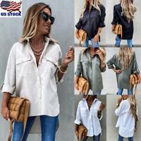 Womens Plain Long Sleeve Pocket Shirt Blouse Ladies Loose Tops T-Shirt Pullover