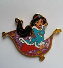 PINS DISNEY FANTASY PIN JASMINE WINTER FLYING ON MAGIC CARPET GLITTER ALADDIN