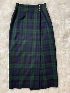 Vintage Ralph Lauren Tartan Plaid Wool Skirt Wrap Three Buttons Size 6