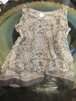 Anthropologie Ella Moss Small Grey Crew Neck Sheer W Gray Slipper Tank Top
