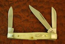 CASE XX USA 2002 POCKET WORN NATURAL BONE STOCKMAN KNIFE NICE 6333 SS (3779)