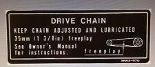 Honda CBR900RR Fireblade temprano Etiqueta de advertencia de precaución cadena de unidad modelo Calcomanía