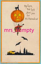 HALLOWEEN Witch in Hot Air Balloon~Black Cats & Bats~Leubrie & Elkus 7018~HBG