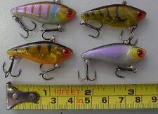 4 crankbait Minnows brand new VIB fishing lures,loud rattle, 4cm long, VMC HOOKS