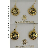 Damascene Gold Dove of Peace Design Round Shape Earrings by Midas Toledo Spain