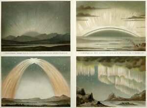 1897 Antique lithograph of AURORA BOREALIS, Northern Lights, Artic Aurorae.