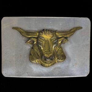 Brass Steer Longhorn Cattle Rancher Cowboy Western Gift 80s Vintage Belt Buckle