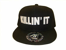 Black & White Killin' It Flat Bill Snapback Baseball Cap Caps Hat Hats