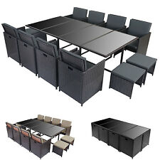 Poly-Rattan Garten-Garnitur Kreta, Lounge-Set Sitzgruppe 12 Sitzplätze